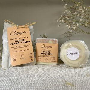 Pack trio emballé savon et shampoing solides Karité Patchouli avec savon à raser