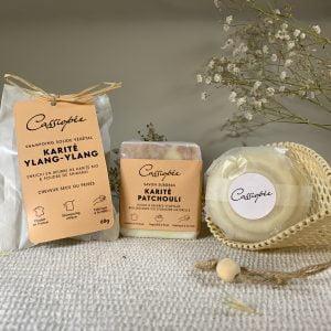 Pack emballé trio savon et shampoing solides Karité Patchouli avec savon à raser et filet de séchage