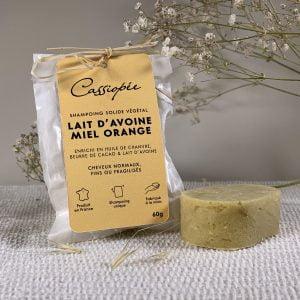 Shampoing solide Lait d'avoine miel orange Cassiopée Cosmétiques